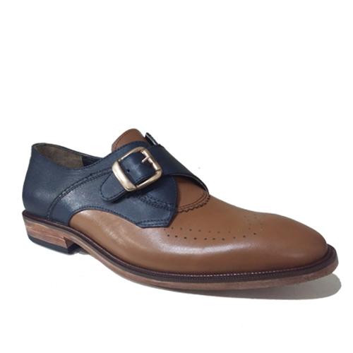 کفش مردانه چرم دست دوز دو رنگ توقا دار