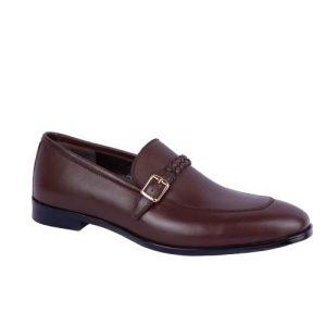 کفش مردانه چرم بزرگ پا بی بند ساعتی توقادار