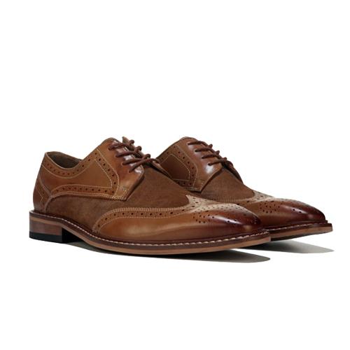 کفش مردانه چرم دست دوز هشترک بندی دو رنگ