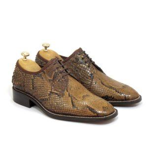 کفش مردانه چرم دست دوز با پوست مار پینتون