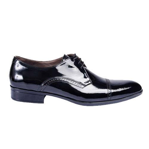 کفش مردانه تمام چرم دست دوز ورنی سرپنجه دار سه بند