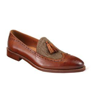 کفش مردانه چرم دست دوز زنگوله ای کنفی