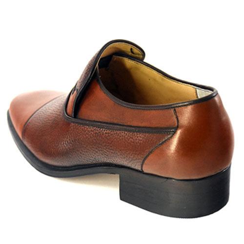 کفش مردانه تمام چرم دست دوز مدل زه دار بی بند