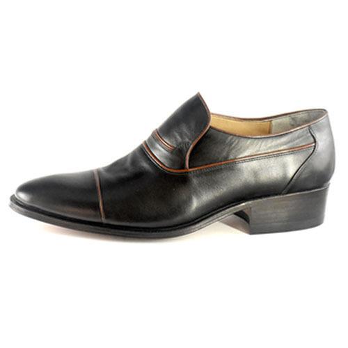 کفش مردانه تمام چرم دست دوز مدل زه دار بی بند 2